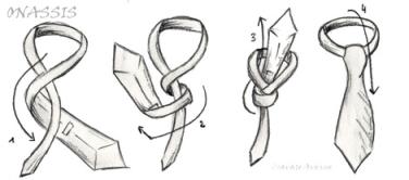 nudo de corbata moderno escondido